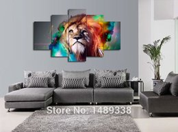 Wholesale Large Canvas Oil Paintings Sale - 5 Piece of Colorful Lion Painting Wall Art Large Animal Canvas Pictures Post Prints for Sofa Background Decoration Hot Sale