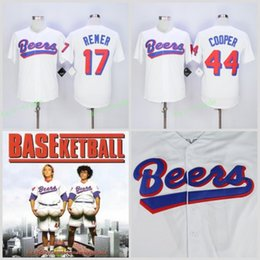 Wholesale Cheap White Buttons - Men's stitched Cheap The BASEketball Beers Movie #17 Doug Remer #44 Joe COOP Cooper BASEketball White Button Baseball Jerseys