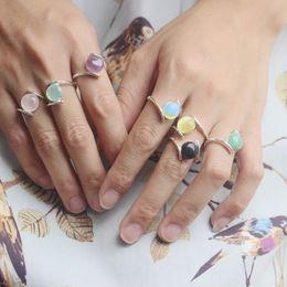 Wholesale Moonstone Amethyst Ring - Synthetic Moonstone type Ring Purple Stone Amethyst Ring,LIGHT ROSE QUARTZ cat eye stone goldstone ring