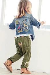 Wholesale Wholesale Girls Jean Jacket - New 2017 Autumn tiger embroidery Girls denim Coat boy Girl jean Jackets Children Jacket Kids Clothing Kids Coat Children Outwear A686