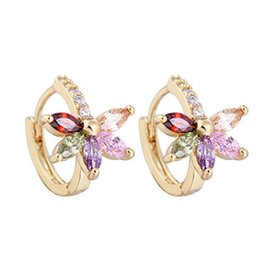 Wholesale valentine butterflies - Valentine Lover Gift Classical Butterfly Wedding Hoops Earrings Romantic Engagement 18K Yellow Gold Plated Earring Clips Jewelry