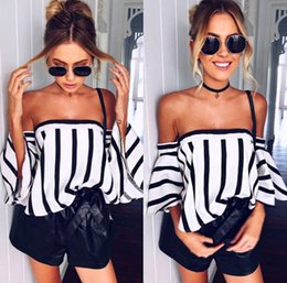 Wholesale Long Sleeved T Shirts Ladies - Casual Ladies Loose Slash Neck Off the Shoulder Tops Womens Long Sleeved Strapless Striped Blouse Jumper T-Shirt Shirt Tee
