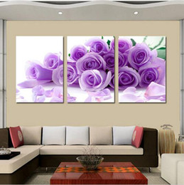 Wholesale Top Rose Oil - Top Fashion Hot Dreamlike 3 Pieces Sweet Rose Canvas Art Hand Painted Oil Painting Wall Of