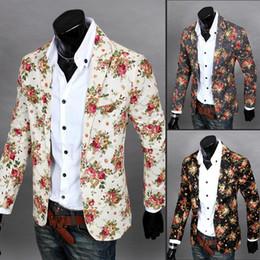 Wholesale Beige Blazer Men - Wholesale- Men Floral Blazers 2017 New Design Fashion Vintage Slim Fitness Jacket Linen Flower Casual Business Suit Blazer Coat Outerwear