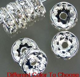Wholesale rhinestone animal spacer beads - 8mm 600 pcs lot Mixed gold and Silver Plated white Clear Crystal Rhinestone Spacer Beads, Jewelry Findings Rondelle Loose Bead g2342