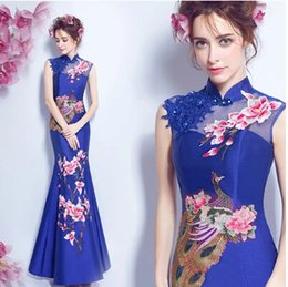 Wholesale Cheongsam Back - 2017 New Cheap Real Image Evening Dress Chinese Style In Cheongsam Blue Mermaid High Collar Lace-Up Back Sweep Train Vintage Formal Dress
