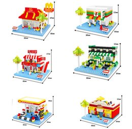 Wholesale Fast Food Shop - 330+pcs Hsanhe 6 models Mini street Series summer style outdoor fast food market shop ect irregular building blocks City bricks