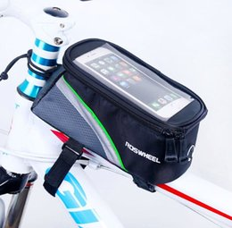 Wholesale Water Bag For Cycling - 5.5  4.8  4.2 Inches Roswheel Front Bike Frame Tube Bag for Cell Phone Cycling Touch Screen Case Pouch 7 colors