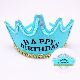 Wholesale Happy Birthday Crown - Happy Birthday Crown Headband With Lights For Baby Children Adult Adjustable Size Birthday Party Deco Free Ship
