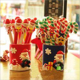 Wholesale Fimo Christmas - Wholesale-Christmas Favor Christmas Fimo pen decoration Christmas doll crutch polymer clay pen Christmas gift prizes nursery mall supplies