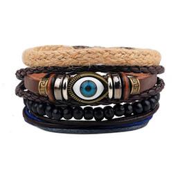 Wholesale Beaded Leather Wrap Bracelet Black - Wholesale Retro Hand Knit Bule Devil's Eye Multilayer Adjustable Leather Beaded Wrap Charm Bracelet Jewelry Set