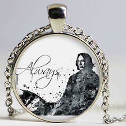 Wholesale Deathly Hallows Pendant Necklace - Always Deathly Hallows Necklaces Pendants Always Snape Jewelry Glass Cabochon 27MM Pendant Choker
