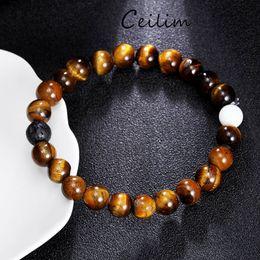 Wholesale Tiger Eye Round Beads - White Turquoise & Tiger Eye Natural Beads Bracelets Energy Strand Round stone Bracelets for Women Brand Jewelry wholesale free shipping