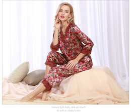 Wholesale Sexy Satin Long Lingerie - Satin pyjamas girl's pajamas for women woman sleepwear sexy lingerie for Women sleepwear silk print long sleeve v neck SJYT59