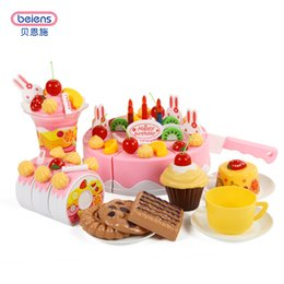 Wholesale Cutting Play Food - Beiens Brand Toys DIY Toys 75Pcs Pretend Play Cutting Birthday Cake Food Toy Kitchen For Children Plastic Play Food Tea Set
