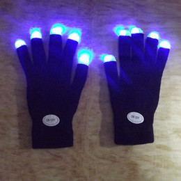 Wholesale Led Flashing Fingertip Gloves Wholesale - Wholesale- Rainbow Flash Fingertip LED Gloves Unisex Light Up Glow Stick Gloves Mittens