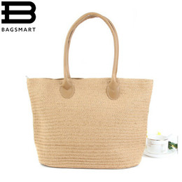 Wholesale One Shoulder Woven Bag - Wholesale- BAGSMART 2016 New Fashion Straw Bag Large Capacity Women's Handbag Handmade Woven Bag One Shoulder Casual Beach Bags