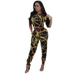 Wholesale Two Piece Women Jumpsuits - 2017 New Vintage African Traditional Style Two Pieces Women Jumpsuits Half Sleeve Top Long Bodycon Pants Ladies Romper