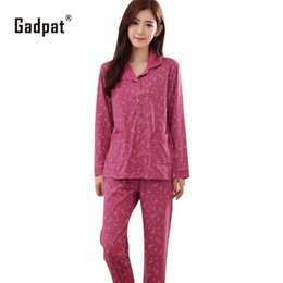 a5f9bb5958 Gadpat Pajamas Women Spring And Autumn Long-sleeve Sleepwear Cotton Ladies  Pyjamas Elderly Women s Lounge Cotton Pajama Set