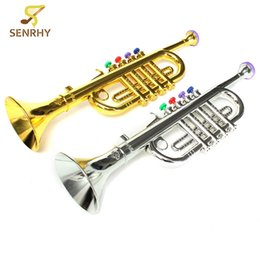 Wholesale Wholesalers Musical Instruments - wholesale Gold Silver Developmental Plastic Boys Girls Children Toys Gift Musical Instrument Trumpet 37x10cm
