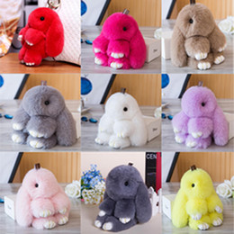 Wholesale classic tin car - Cute Fluffy Bunny Keychain Women Trinket Rabbit Key Ring Hare Pompom Dolls Toy Car Key Holder Animal Steering-wheel Pendant