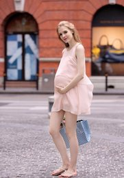 Wholesale Cute Maternity Clothing - Fashion Chiffon Maternity Dress Comfortable Clothes for Pregnant Women Cute Summer Tank Clothing for Pregnancy