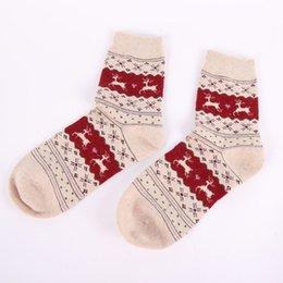 Wholesale Brown Filler - Wholesale- Winter Women Warm Thick Socks Christmas Gift Snowflake Deer Women Wool Socks Warm Winter Novelty Sock Filler Xmas Gift