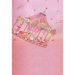 Wholesale Kids Carousel - Pastel Pink Carousel Photo Background for Baby Newborn Birthday Party Digital Printed Stars Princess Kids Photography Backdrops Children
