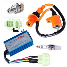 Wholesale Cdi Bike Ignition - High Performance Ignition Coil +Spark Plug+ +Wire AC CDI Box Fit for GY6 50cc 70cc 90cc 125cc 150cc Scooter ATV Go Kart Moped Dirt bike