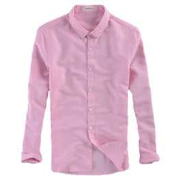 Wholesale Men Office Shirts - Wholesale- Size M-4XL Summer Freeze Cotton Linen Thin Men Pink\White\Blue Casual Shirts Long Sleeve Wedding Party Office Fashion Shirt Slim