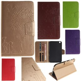 Wholesale Iphone Cases Character - For Samsung Galaxy Tab 3 Cases Tablet T310 Iphone Ipad 6 5 mini PU Wallet Leather Embossing Stand Flip Case Cover Lovers Dandelion