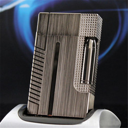 Wholesale Bullet Sound - Metal Wiredrawing Torch lighter Bullet Engraving Smoke Gas lighters D*pont Gold silver Gray PING Sound free shipping !