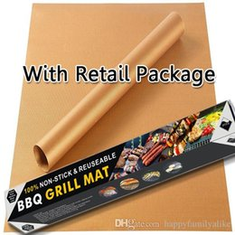 Wholesale Barbecue Charcoal - Perfect Brass Grill Mat BBQ Tools Non-Stick High Temperature Barbecue Copper Reusable Anti-Stick BBQ Mats For Garden Party Drop Shipping