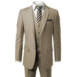 Wholesale Made Order Suit - Khaki Men's Modern Fit 3-Piece Suit Blazer Jacket Vest & Trousers Custom Make To Measure Order Male Suit (coat+pants+vest)