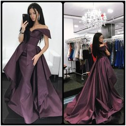 Wholesale Over Size Evening Dresses - Off Shoulder Sexy Mermaid Evening Dresses with Over Skirt 2018 Custom Made Long Prom Dress Party Gown vestido de festa