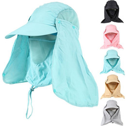 Wholesale Hat Cap Uv - 20pcs Lot Newest Outerdoor Sun UV Protection Fishing Hat With Removable Neck&Face Flap Cover Hiking Camping Visor Caps ZL3026