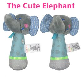 Wholesale Birds Plush Toys - Wholesale- Baby Rattles Mobiles 14cm*10cm Elephant Stick Bird Sound Toy ring bell Infant Baby Crib Stroller Toy 0+ month Plush Newborn Soft