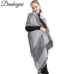 Wholesale Thick Wool Scarves Sale - Hot sale Scarf Women Shawls Winter Warm Scarf Pashmina Luxury Brand Wraps Wool Cashmere Thick Plaids Hijab Capes Bevel Towel