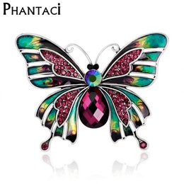 Wholesale Garment Butterfly - Wholesale- Rainbow Multi Color Butterfly Brooch Pins Crystal Rhinestone Insect Women Fashion Jewelry Gift Animal Garment Accessory