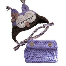 Crochet del cappello viola del bambino online-Neonato Gufo viola Costume, Handmade maglia lavorata all'uncinetto della neonata Cappello gufo e pannolino Copertina Set, Toddler Animal Costume di Halloween, Foto per bambini Prop