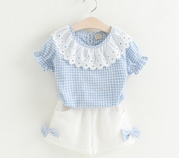 Wholesale Cute Plaid Shirts - 2 color Korean new styles Hot selling girl Summer 2 pieces cute set Lotus collar Plaid girls T-shirt + white short clothing free shipping