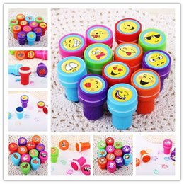Wholesale Stationery Stamps - Wholesale-12PCS Self-ink Stamps Kids toy Party Favors Event Supplies for Birthday Gift Boy Girl Goody Bag Pinata Fillers Fun Stationery