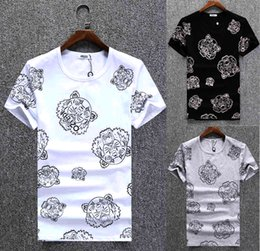 Wholesale Tee Shirt Collar Design - Higt quality Tops& Tees fashion design Animal printing t-Shirts High-grade cotton round collar T shirt Short Sleeve mens T shirts size M-3XL