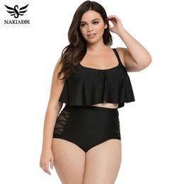 e6dc36b67c1 NAKIAEOI High Waist Swimsuit 2017 Plus Size Swimwear Women Bikinis Bandeau  Push Up Bikini Set Bathing Suits Swim Wear Black 3XL