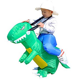 Wholesale Boys Fancy Dress Years - 5Pcs Kids T-Rex Dinosaur Inflatable Fancy Dress Party Costume Suit Dino Rider Unisex For Kids 2-5 Age