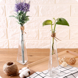 Wholesale Transparent Glass Flower Vase - Creative Transparent Glass Vase Modern Fashion Hydroponic Flower Vase Living Room Decoration Vase Simple Style Glass Bottle