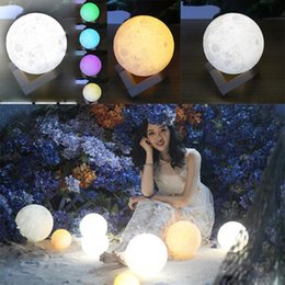 Wholesale Led Light Ball Party - 3D LED Night Magical Moon LED Light Moonlight Desk Lamp USB Rechargeable 3D Light Colors Stepless for Home Decoration Christmas lights