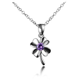Wholesale Clover Flower Necklace - Four Leaf Clover Heart Shape Necklace Purple Austrian Crystal 925 Sterling Silver Mother Day Gift Valentine Day Gift