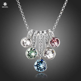 Wholesale stellux austrian crystals - Wholesale MOZEL Swarovski Elements Platinum Plated 5 Series Flower With Colorful Stellux Austrian Crystals Pendant Necklace TN0143