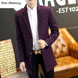 Wholesale Korean Red Trench Coat - Wholesale- 2016 winter new men's England Medium style plaid red trench coat youth Korean version Slim Fashion suit collar jackets M-5XL